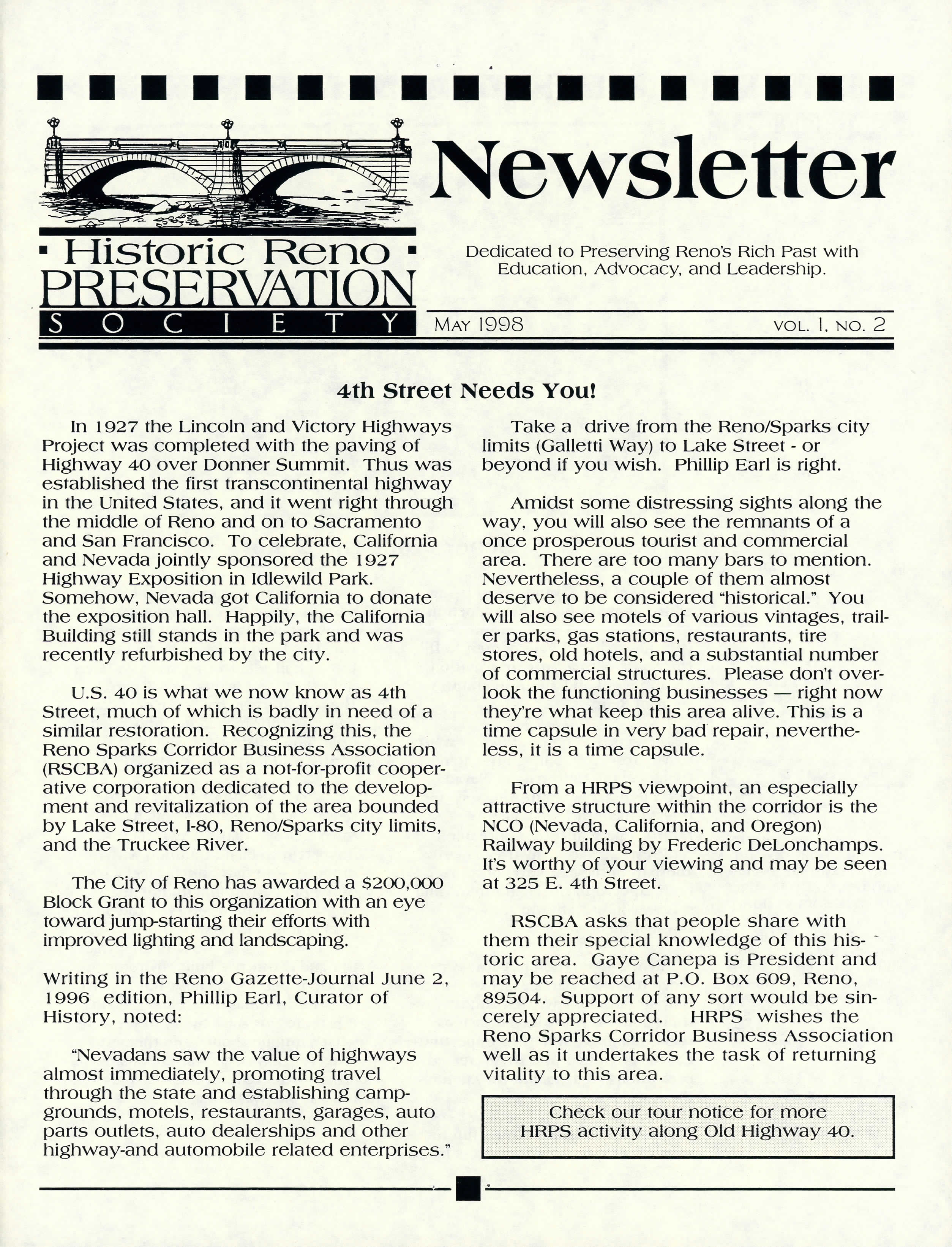 Newsletter Volume 1, Number 2, May 1998